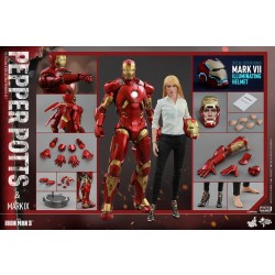 Hot Toys Iron Man 3: 1/6 Pepper Potts & Mark IX Set with Mark VII illuminating helmet 2015 ACGHK Limited (FREE shipping)